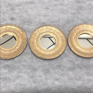 Moroccan style gold wall mirror set of 3